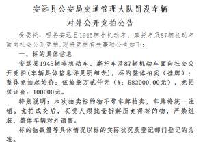 安远县公安局交通管理大队罚没车辆对外公开竞拍公告